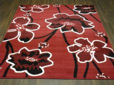 Modern 7x5ft 150x210cm Woven Backed poppy Rug Top Quality Red/Black BARGAINS New